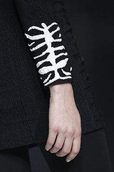 Sequinned jacket sleeve detail with vivid monochrome embroidery; sewing idea; close up fashion // Alvarno F/W 2015