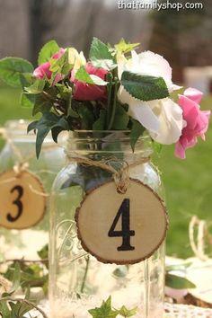 Table Number Tokens, Mason Jar Rustic Wedding Table Seating Display-thatfamilyshop.com