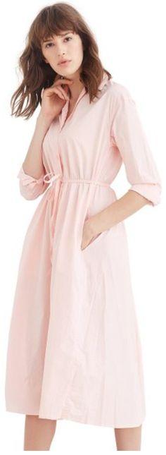 Simple Retro Women's Cotton Long Sleeve Pocket Shirt Dress