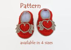 PATTERN: Valentine Crochet Baby booties/ slippers/ loafers/ sandals/ flip flops/ clogs/ huaraches, 4 sizes