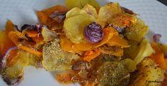 Zucca croccante con petali di patate e cipolla caramellata