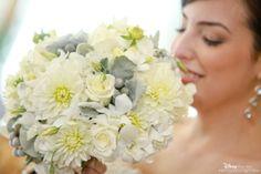 Bride with her Disney wedding bouquet