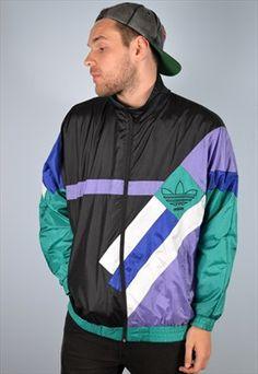 Adidas Mens Vintage Tracksuit Top Jacket Windbreaker Large.