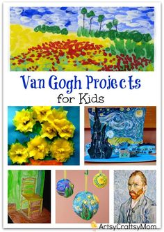 Vincent Van Gogh Projects for Kids – 10 Inspiring Ideas to try with your kids, celebrateing 'Inspire your Heart with Art Day' [ Jan31st]  Featuring starry night, sunflowers, art & craft. Ar tAppreciation for kids