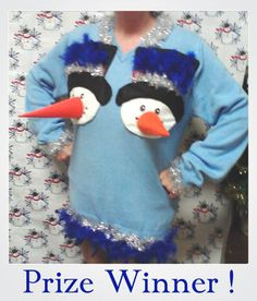 Good candidate for tacky Christmas sweater party! Diy Ugly Christmas Sweater, Ugly Sweater Party, Funny Xmas Sweaters, Tacky Sweater, Holiday Sweater, Winter Christmas, Christmas Crafts, Christmas Ideas, Merry Christmas