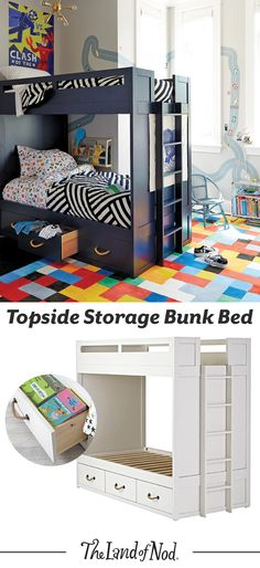 Searching for kids bedroom furniture that's stylish and a perfect fit for any sized room? Look no further. Our kids bunk bed is an essential pick for every girl's or boy's bedroom. It's available as a twin or full bed, and some styles even convert into individual kids beds. Plus, there's tons of storage underneath our Topside Storage Bunk Bed. Three roomy drawers means it's ideal for shared bedrooms or anyone who loves space-saving designs.