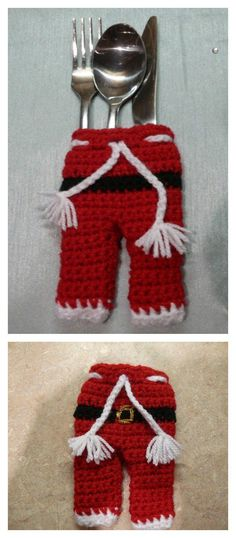 Christmas Santa Pants Cutlery Holder Free Crochet Patterns