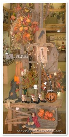 Fall Decor.... Pumpkins, Scarecrow, Witch Hat