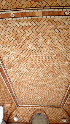 New York City subway construction and art tiles, Guastavino, Heins & LaFarge, IRT line Brick Architecture, Architecture Details, Tile Art, Mosaic Tiles, Brick Archway, Brick Works, Terracotta Floor, Brick Texture, Brick Patios