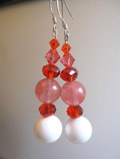 Shell Cherry Quartz and Swarovski Earrings by SmithNJewels on Etsy, $9.99