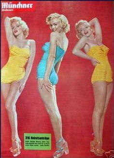 Munchner Illustrierte - 1955, magazine from Germany. Back cover photos of Marilyn Monroe by Bert Reisfeld (centre), and Nick de Morgoli, (left and right), 1953