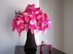 Pink felt tree by Intres on Etsy