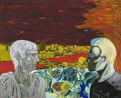 """(1985年)、キャンバスに油彩、76 3/4のx 95インチ(195 X 241.5センチメートル) """"文化を熟考」ピーター・ドイグ、"""