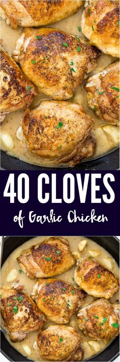 Chicken with 40 Cloves of Garlic. Juicy and tender chicken thighs pan fried and served with tons of garlic and an amazing sauce!