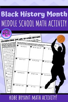Black History Month Kobe Bryant Math Activity for Middle School Students! This February, honor Kobe Bryant and Black History Month with this math activity. Simplify numerical expressions to complete the passage about Kobe. Students will read about his life, his accomplishments, and his success. Students must complete 12 problems to complete the passage and learn fun facts about Bryant. Students can complete this activity in gym class, ELA, or math class! #blackhistorymonth #bhm Fun Math Activities, Math Resources, Math Lesson Plans, Math Lessons, Order Of Operations, 7th Grade Math, Math Classroom, Black History Month, Kobe Bryant