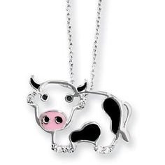"Sterling Silver CZ Enamel Cow 18"" Necklace: Jewelry: Amazon.com"