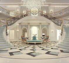 Luxury Mansion Interior Grand Double-staircased Foyer Design images ideas from Home Inteior Ideas Foyer Design, Lobby Design, Staircase Design, Design Bathroom, Corridor Design, Staircase Ideas, Entrance Design, Railing Design, Bathroom Ideas