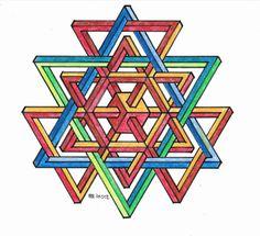 #impossible #isometric #penrosetriangle #Oscar_reutersward #symmetry #geometry #pattern #Escher #mcescher #handmade #handpaint #triangle #triangleimpossible #artist_sharing #art_empire