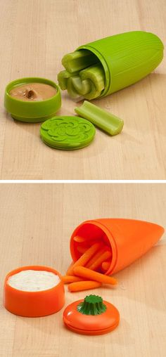 Celery / Carrot & Dip To-Go Container - perfect healthy snack pack idea! Want! #product_design