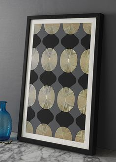 Hourglass Beads (grey/black/gold), by Lisa Hunt Creative. Screen printed and gold leafed by the artist.