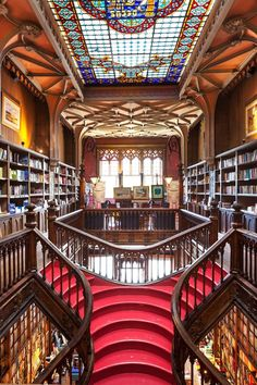 Lello Bookshop, considered one of the most beautiful in the World. Located in Porto, Portugal.just 300 km from Lisbon! Spain And Portugal, Lisbon Portugal, Most Beautiful Cities, Beautiful World, Grand Staircase, Stairs, Old Libraries, Bookstores, Library Architecture