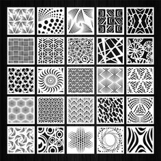 Set of 100 vector square panels with floral abstract and geometric patterns for laser, plasma and CNC machine cutting. Geometric Patterns, Geometric Designs, White Patterns, Texture Water, Metal Texture, Laser Cut Panels, Metal Panels, Autocad, Basic Sketching
