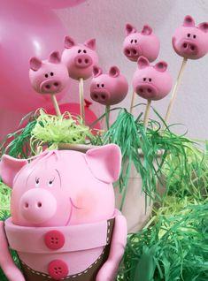 Pink pig cake pops