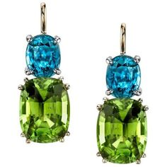 Preowned Peridot And Blue Zircon Earrings (€3.440) ❤ liked on Polyvore featuring jewelry, earrings, blue, zircon earrings, blue earrings, earring jewelry, peridot earrings and peridot jewellery