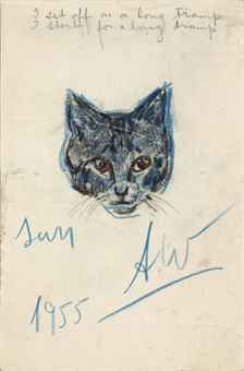 Andy Warhol - Untitled (Sam) ' I set off on a long tramp I start for a long tramp' (upper center)  1955. Pencil, charcoal and pastel on board.
