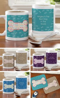 This pattern is so cute! It's the I Love My Dog Personalized Coffee Mug and Mouse pad from PersonalizationMall! Personalize it so your dog's name is repeating in the dog bone and you can write your own message on the other side! (they even have a cat design, too!) #Dog #Cat #Coffee #Mug
