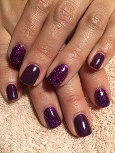 Nails by Mindy 816-914-8987 Historical square Liberty, MO Purple shellac gel polish with glitter accent