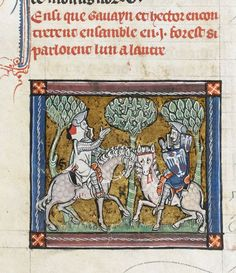 Detail of a miniature of Hector and Gawain meeting in a forest, northern France (Saint-Omer or Tournai), c. 1316, Add MS 10294, f. 29v - See more at: http://britishlibrary.typepad.co.uk/digitisedmanuscripts/2013/10/its-a-busy-life-in-camelot.html#sthash.4VNRh7NS.dpuf