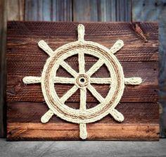 Ship Wheel Nautical Wall Art Reclaimed Wood & Rope by Coastaholic #promotingwomen