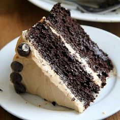 Chocolate cake with peanut butter icing
