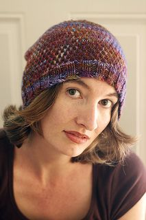Color Break Hat by Kristen Hanley Cardozo on Ravelry.  Slip-stitch pattern in a variegated worsted makes a very warm, cushy hat with colours well distributed. Lovely.