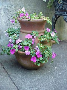 Strawberry pots with pink impatients