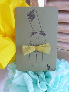 """carte garçon """"noeud de pap'"""" - vert - by lfdp : Cartes par faire-parts-absolument-bylfdp"""