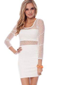 Show Your Spots Dress in White $25 at www.tobi.com (Would look great with a neon wig!!)