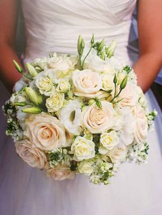 Develop A The Moment Upon A Dream Fairy Tale Birthday Bash Accent Your White Wedding Bouquet With Hints Of Intimate And Romantic Blush Tones. White Roses Wedding, White Wedding Bouquets, Flower Bouquet Wedding, Rose Wedding, Bridal Bouquets, Fall Wedding, Rustic Wedding, Wedding Dresses, Wedding Color Schemes