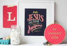 only jesus can bring the awesome  handlettered by recipeforcrazy, $12.50