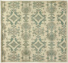 Our largest area rug collection, the Oushak, develops the decorative schemes of late 19th century Turkish carpets. Most common in beige 8 x 10 living room rug sizes, they also come in oversized, and runner rugs. These rugs have large simplified, mostly abstract patterns in light tonalities featuring ivory, pale blue, rust, salmon and light green. The origin of Oushak patterns derives from Persia, but the rendition is strictly more modern and decorative. These carpets can be found in various…