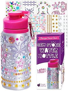 Purple Ladybug Decorate Your Own Water Bottle with Tons of Rhinestone Glitter Gem Stickers - BPA Free is a gift our 6 year old girl loves. These are super popular water bottle decorations!