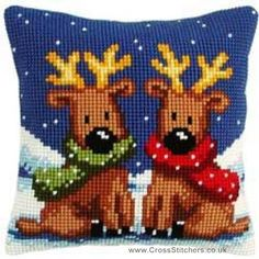 Christmas Reindeer Cushion Front Cross Stitch Kit by Vervaco