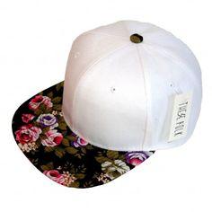 4faba4f353d88 Floral Snapback White Boné Aba Reta