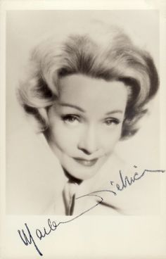 This late 1960's postcard size photo was handed out with its facsimile signature after concerts to fans by Marlene herself, at the stage door. And in this case, given to me from beside a white Bentley. If you wrote to her in person, she would always reply & send an authentically hand signed photo or letter. Most actors of her era were very apprecative of fan mail, before selling signatures became such a big business on the internet. (minkshmink collection) #marlenedietrich   #gayicon