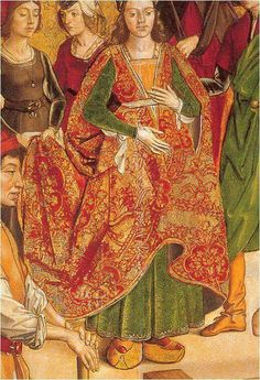 The woman in this image is wearing a Chopine, which is an Italian platform shoe that was popular in Renaissance period.