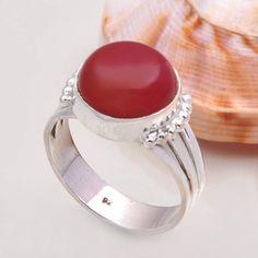 DESIGNER 925 STERLING SILVER RED ONYX RING 4.83g DJR7252 SZ-8 #Handmade #Ring