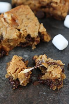 Marshmallow Toffee Blondies-easy, chewy blondies with marshmallows, toffee, and chocolate chips.
