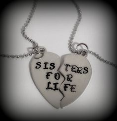 """2 Piece Heart Necklace  Includes: - 2 (Silver) Pieces That Put Together Make a Heart Hand Stamped with:  """"Sister For Life"""" OR """"Best Friends Forever""""  (Phrase Can Be Changed!! Please Include ALL Requests in Notes to Seller) - (2) 18 Inch Silver Small Ball Chain Necklace  These Necklaces ..."""