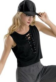 Lace Up Sleeveless Crop Top